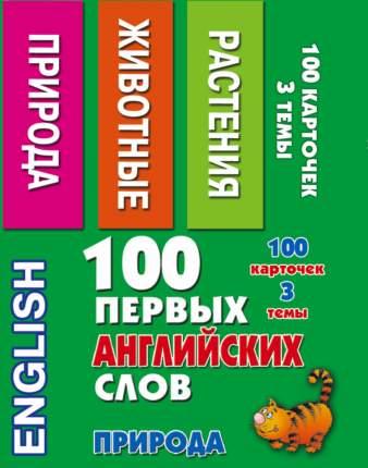 Книга 100 первых Английских Слов. природа. набор карточек