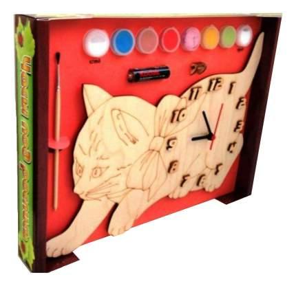 Часы под роспись с красками и кистью Кошка Нескучные игры DNI116