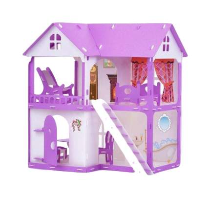 Домик для кукол R&S Коттедж Светлана бело-сиреневый с мебелью