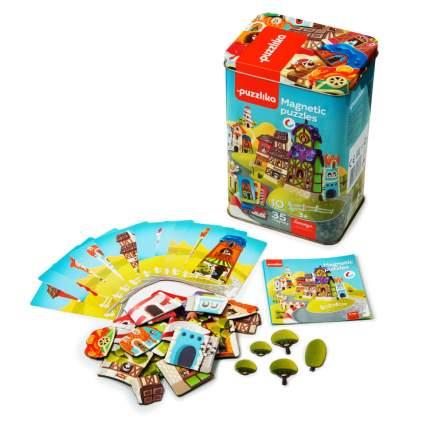 Развивающая игрушка PUZZLIKA Магнитные пазлы-игра Домики 41 деталь