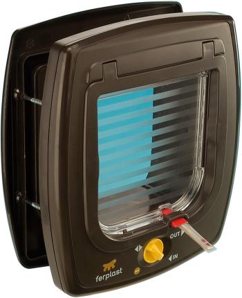 Дверца для животных Ferplast Swing 7 Set, с магнитным замком, коричневая, 13,5х13,7см