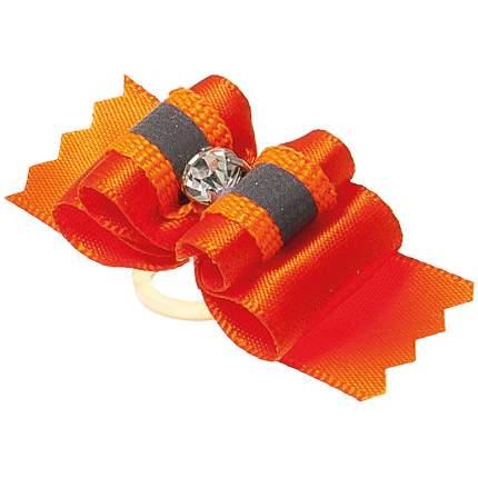 Бантик для собак ZooOne Ностальжи, светоотражающий, тройной объёмный, оранжевый, 4,5х1,5см