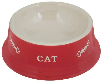 Миска для кошек Nobby с рисунком Cat, керамическая, красная, 14x4,8 см