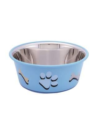 Миска металлическая с резиновым основанием Nobby, с рисунком (цвет: голубой), 400 мл