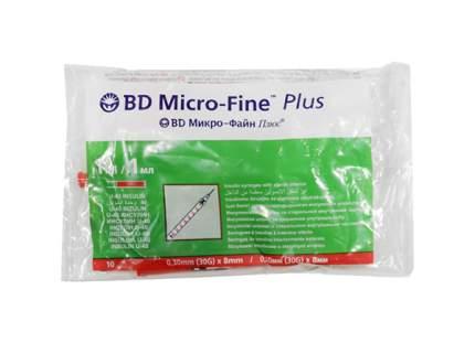 Шприц инсулиновый BD Micro-Fine Plus 1 мл 0,3 х 8 мм 10 шт.