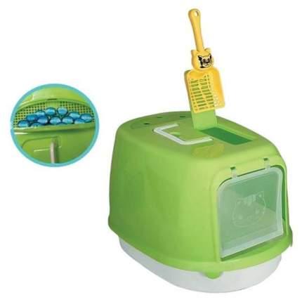 Туалет для кошек Triol P658, прямоугольный, зеленый, белый, 50х35х34 см