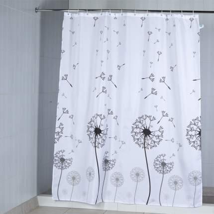 """Штора текстильная/ванной и душа """"Одуванчик"""" 180*200см, цв. белый"""