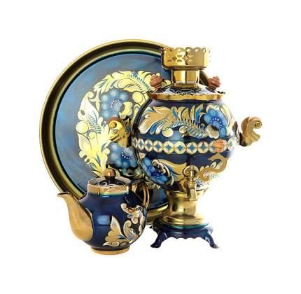 Самовар электрический Тула Кудрина на синем фоне 3 л