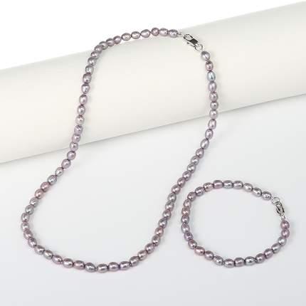Комплект My-bijou бусы / браслет жемчуг розово-сиреневый