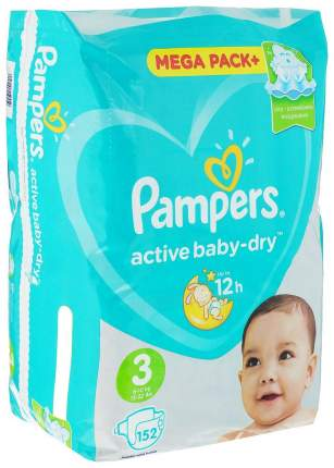 Подгузники Pampers Active Baby-Dry 3 (5-9 кг) 152 шт.