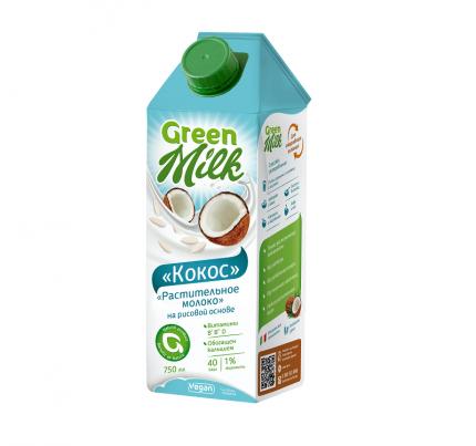 Растительный напиток Green Milk на рисовой основе кокос 0.75 л