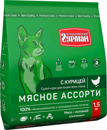 Сухой корм для кошек Четвероногий Гурман, мясное ассорти с курицой, 1,5кг