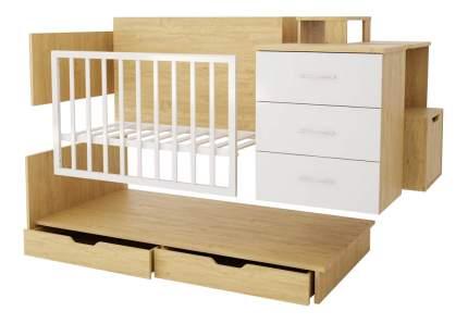 Кровать Polini classic дуб/белый глянец