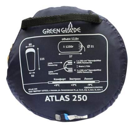 Спальный мешок Green Glade Atlas 250 голубой/серый, правый