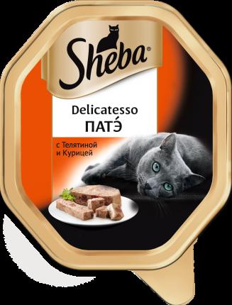 Консервы для кошек Sheba Delicatesso патэ с телятиной и курицей, 85г х 11шт