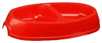 Двойная миска для кошек и собак Зооник, пластик, в ассортименте, 2 шт по 0.45 л