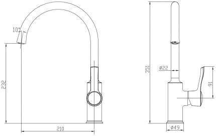 Смарт-Винтаж смеситель для кухни R-излив, бронза