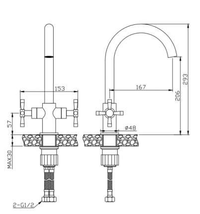 Смеситель для кухонной мойки Orange M34-821Ni