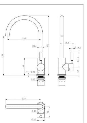 Смеситель для кухонной мойки Paulmark Holstein Ho212063-418 Черный металлик