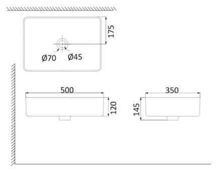 Раковина накладная CREO PAU PU3500 тонкостенная прямоугольная