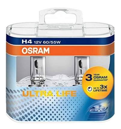 Лампа галогенная автомобильная OSRAM Ultra Life H4 12В 60/55Вт (64193ULT DuoBox)