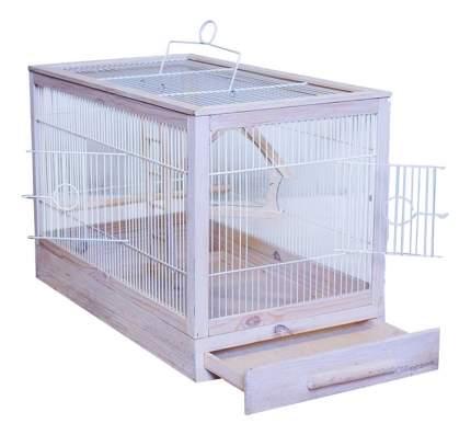 Клетка для птиц ZooM Ретро-кантри, деревянная, белая, 31x23,5x25 см
