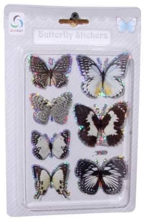 ShiShi Наклейки Зимние Бабочки, 7 шт, черно-белый 44850