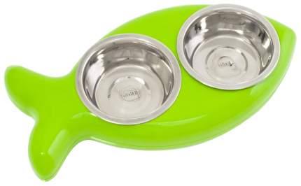 Двойная миска для кошек и собак Hing, пластик, сталь, зеленый, серебристый, 2 шт по 0.25 л