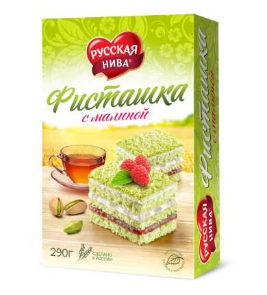 Торт бисквитный Русская Нива фисташка с малиной 290 г