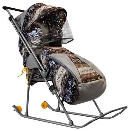 Санки-коляска Galaxy Снежинка Премиум Скандинавия, коричневые