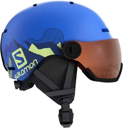 Горнолыжный шлем Salomon Grom Visor Pop 2019 blue mat, S