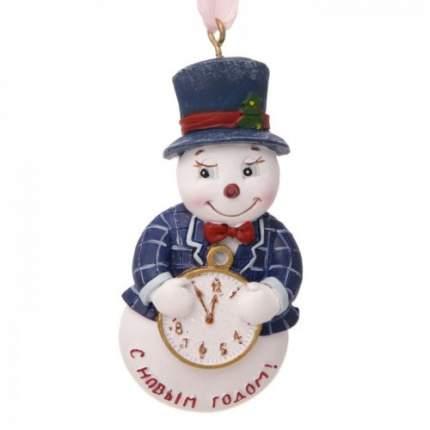Елочная игрушка Феникс Present снеговик, 3,5х1,5х8 см