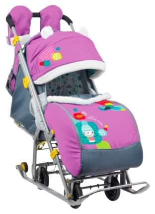 Санки-коляска Ниа детям 7-2 Коллаж-снеговик Орхидея