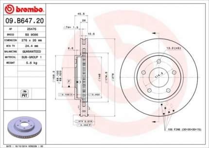 Тормозной диск brembo 09.B647.21