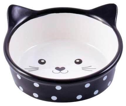 Одинарная миска для кошек и собак КерамикАрт, керамика, резина, белый, черный, 0.4 л