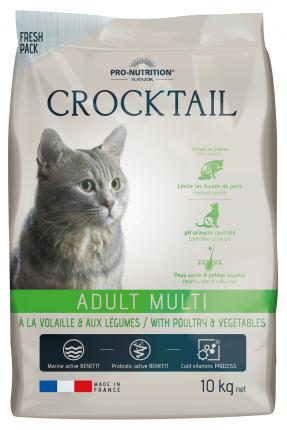Сухой корм для кошек Flatazor Crocktail, домашняя птица, овощи, 10кг