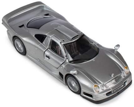 Машинка Maisto серебряная - Mercedes-Benz CLK GTR уличная версия 1:24
