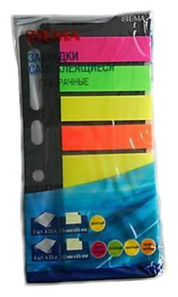 Закладки Sigma самоклеящиеся цветные прозрачные 4цв 25л*6шт
