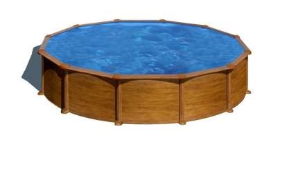 GRE, Круглый бассейн, серия MAURITIUS 550х132см, имитация Дерево, KITPR558WOMAG