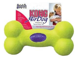 Апорт для собак KONG Косточка, зеленый, синий, длина 15 см