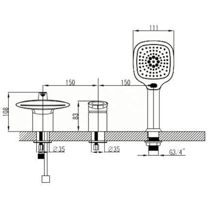 Смеситель для ванны на борт LEMARK Status LM4445C хром