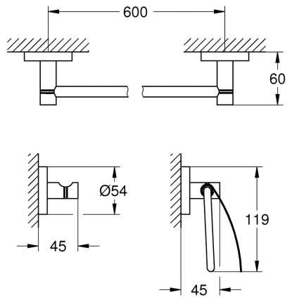 Набор для ванной комнаты Grohe Essentials 3 в 1 Guest Bathroom 40775DC1 Supersteel