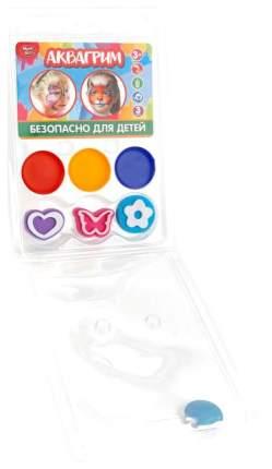 Аквагрим Multiart 3 цвета красок на маслянной основе + 3 штампа-трафарета