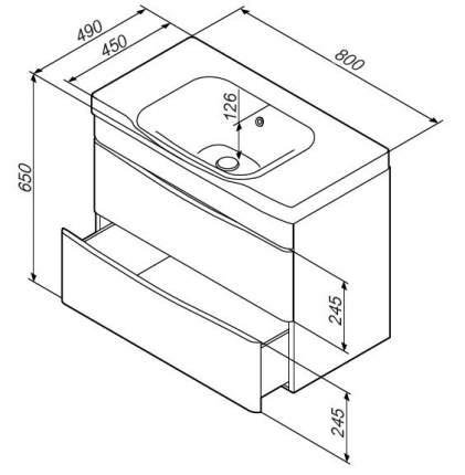 Тумба для ванной AM.PM M80FHX0802WG без раковины