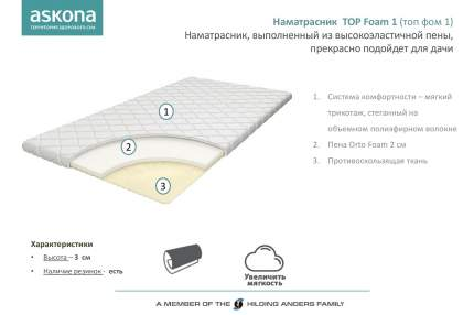 Наматрасник-топпер Аскона TOP FOAM 1 160х200 см