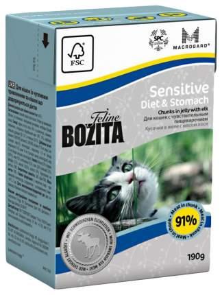 Консервы для кошек BOZITA Feline Sensitive Diet & Stomach, с лосем в желе, 190г