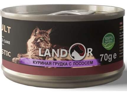 Консервы для кошек Landor, куринаягудка с лососем, 70г