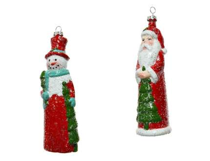 Набор елочных игрушек 16х17см Санта и снеговик 2шт