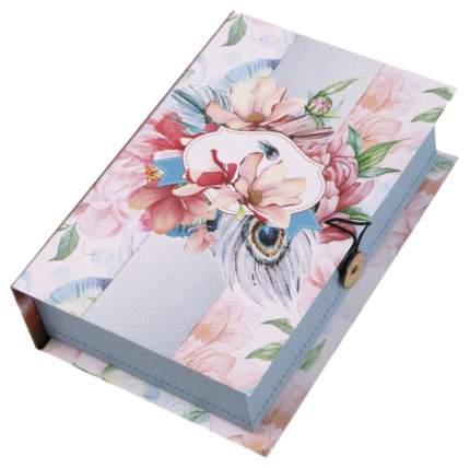 """Коробка подарочная """"Цветы и павлиньи перья"""""""