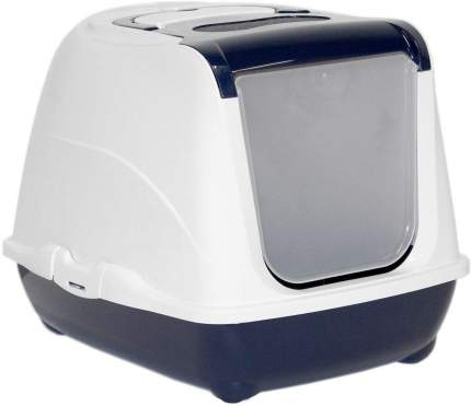 Туалет для кошек MODERNA Flip Cat, прямоугольный, синий, 50х39х37 см